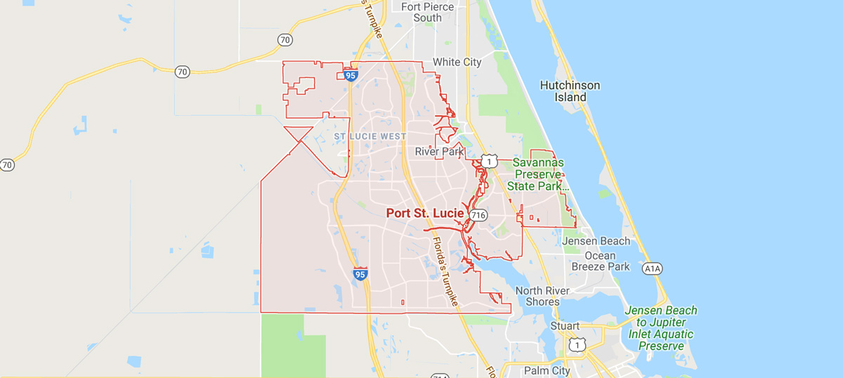 Port st.lucie area services map